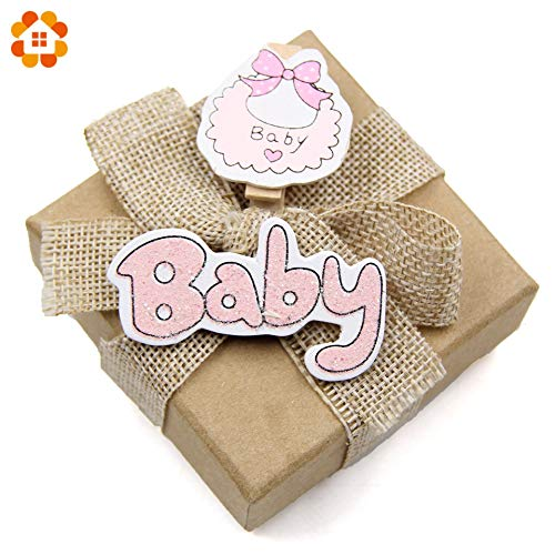 Diyas Decoration Party Decorations 20PCS Lovely Baby Shower Clips Wooden Clips Photo Clips Wood Stickers Wood Crafts Kids Gift Birthday/Baby Shower Decorations (Random) by HATABO (Image #2)