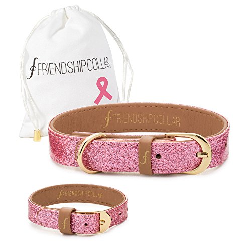 FriendshipCollar Dog Collar and Friendship Bracelet - Glitter Pink - Medium