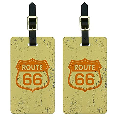 Route 66 Vintage Luggage Tags Suitcase Carry-On ID Set of 2 - En Route Luggage Tag