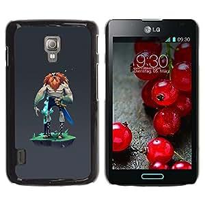 Be Good Phone Accessory // Dura Cáscara cubierta Protectora Caso Carcasa Funda de Protección para LG Optimus L7 II P710 / L7X P714 // Viking mysterious grey character man