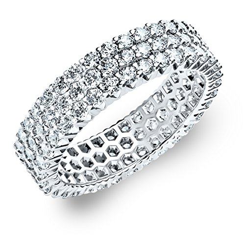 14K White Gold Diamond 3-Row Eternity Ring (1.5 cttw, G-H Color, SI1-SI2 Clarity) Size 6 (Diamond Ring Anniversary Row)