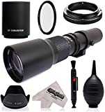 Super 500mm/1000mm f/8 Manual Telephoto Lens for Nikon D5, D4S, DF, D4, D3X, D810, D800, D750, D700, D610, D500, D300, D90, D7200, D7100, D5500, D5300, D5200, D5100, D3300, D3200 Digital SLR Camera