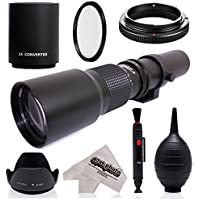 Super 500mm/1000mm f/8 Manual Telephoto Lens for Canon EOS, 80D, 70D, 77D, 60D, 60Da, 1Ds, Mark III and II 7D, 6D, 5D, 5DS Rebel T6s, T6i, T6, T5i, T5, T4i, T3i, T3, SL1, SL2, Digital SLR Cameras
