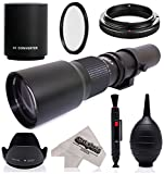 Super 500mm/1000mm f/8 Manual Telephoto Lens for Fuji X-Pro2, X-Pro1, X-T20, X-T10, X-E2S, X-T2, X-T1, X-E3, X-E2, X-E1, X-M1, X-A10, X-A3, X-A2, and X-A1 FX Mirrorless Digital Cameras