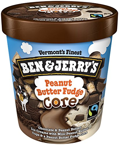 Ben & Jerry's - Vermont's Finest Ice Cream, Non-GMO - Fairtrade - Cage-Free Eggs - Caring Dairy - Responsibly Sourced Packaging, Peanut Butter Fudge Core, Pint (8 Count)