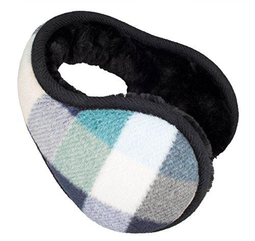 Knolee Unisex Grid Fleece Foldable Ear Warmer Winter Outdoor EarMuffs
