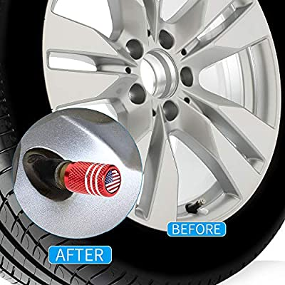 PATWAY 4 Pcs Metal Car Wheel Tire Valve Stem Caps USA Flag for Jeep Dodge Mercedes BMW Mustang Volvo Chevrolet Nissan Audi VW Ford Honda Toyota Jaguar Logo Styling Decoration Accessories.: Automotive