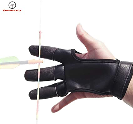 Archery Finger Tab Guard Bow Protector Gear Glove Right Adjustable Black