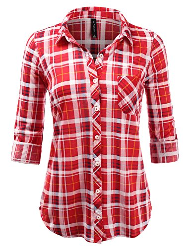 Company Single - JJ Perfection Womens Plaid Collared Full Button Down Rollable 3/4 Sleeve Shirt REDNAVY 3XL