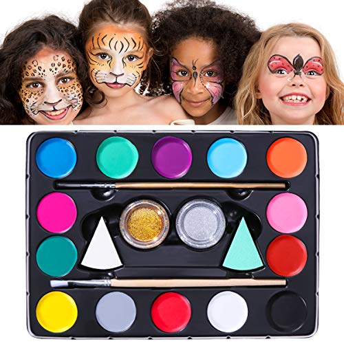 (Unomor 14 Color Halloween Makeup Face Paint Kits for Kids with 40 Stencils, 2 Professional Sponges, 2 Brushes, 2 Glitters – Non Toxic & Hypoallergenic Face Painting)