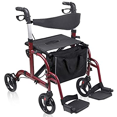 Medical Rollator Wheelchair with Wide Seat, Give Me 2 in 1 Folding Transport Walker Chair - 8 Inch Wheel, Carry Bag, Reversible Backrest, Footrest (Red)