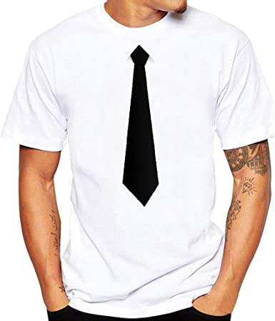 Camiseta Hombres Verano Moda con Interesante Traje de Corbata ...