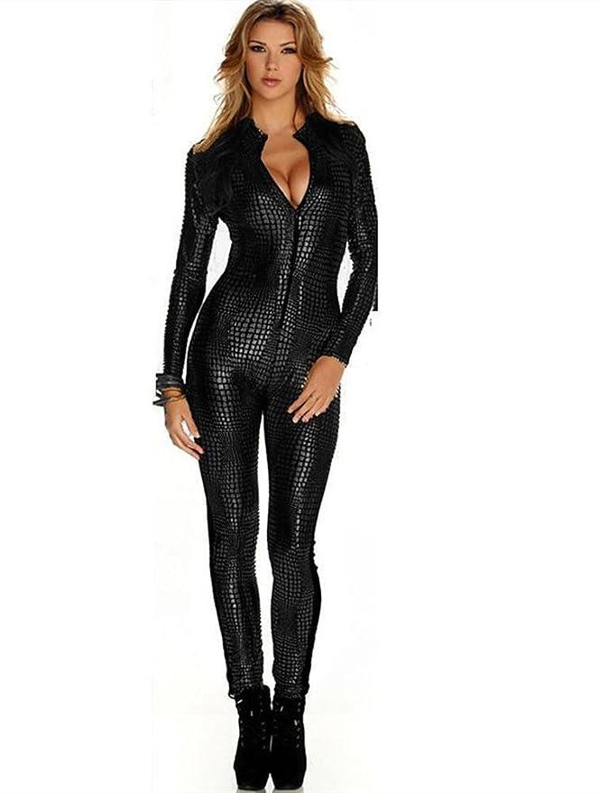 Mujeres Sexy corsé de cuero traje de la ropa interior Catwoman Latex Catsuit PVC mono vestido del clubwear , gold , one size: Amazon.es: Deportes y aire ...