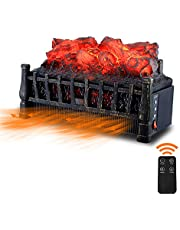 Sunday Living Electric Fireplace Logs, 21 Inch Insert Fireplace Heater 1500W, Adjustable Brightness, 8 Hour Timer, Remote Control, Antique Black Frame, Christmas Home Decor, IFP606B
