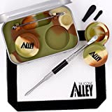 Wax Carving Travel Kit [MILITARY CAMO] Nonstick Tin with Silicone Jar Containers 5 mililiters (2 units) and Stainless Steel Carving Tool (1) and Mini Carver Tool (1) and Wax Mat 3″ x 5″ (1)