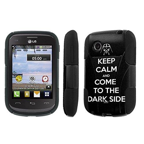 NakedShield LG 306G LG 305C Black Keep Calm Come to Dark Side T Armor Tough Shock Proof KickStand Phone Case