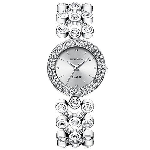 (Simple and Luxury Ladies Wristwatches Fashion Crystals Bangle Watches for Women Steel Silver)