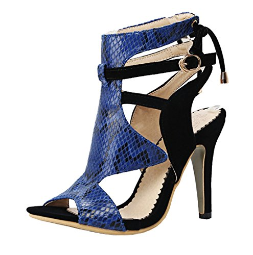 d578038ebe7a YE Damen Peep Toe High Heels Cut Out Sommer Sandalen Ankle Boots mit  Schnürung und Schnalle