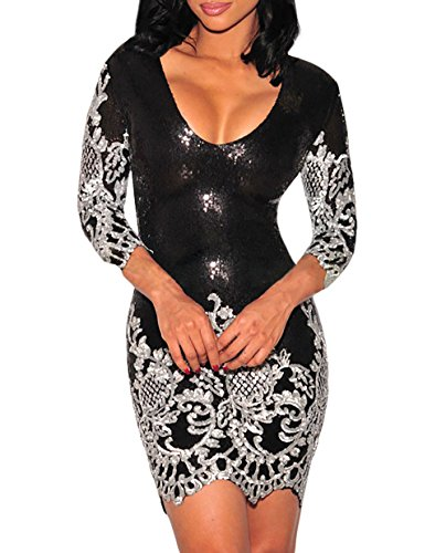 Beauty Decor women Black Victorian Silver Sequins 3/4 Sleeves Bodycon Dress as shown (US 4-6)S