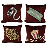 4 Deluxe Burgundy Home Theater Film Movie Pillows