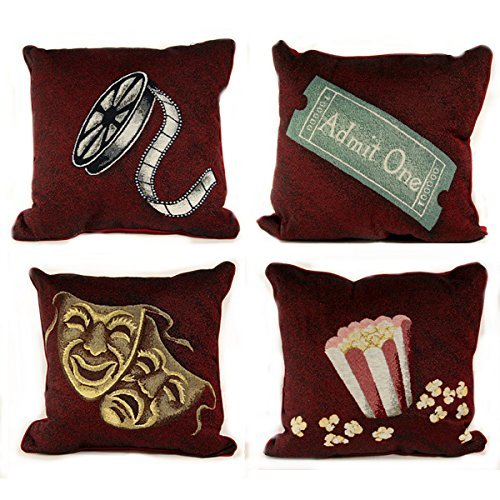 4 Deluxe Burgundy Home Theater Film Movie Pillows by Stargate