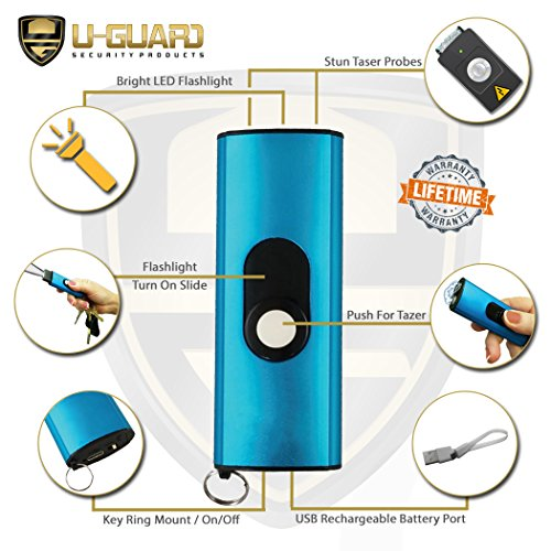 Micro Stun Gun Keychain Pepper Spray Self Defense Kit Bundle. Personal Non Lethal Weapons For Women Or Men. High Volt Rechargeable Key Chain Taser & Key Ring Max Strength Pepper Defence Spray (BLUE) by U-Guard Security Products (Image #1)