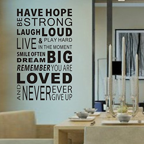 Delma(TM Inspirational Wall Decals Quotes,Word Wall Sticker Quotes,Motivational Wall Decal,Family Inspirational Wall Art Vinyl Wall Mural Paint Decor (Huge Size-Have Hope-4.0'x6.2') by Delma (Image #1)