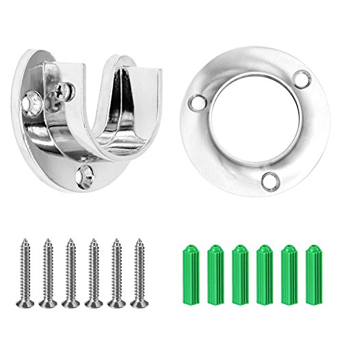 Closet Rod Flanges - Heavy Duty Stainless Steel Rod Socket Flange Set Rod Holder Set For Closet Poles Up To 1-1/4