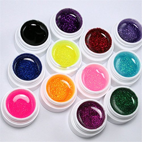 Nail Gel Polish,Hemlock 12 Colors Nail Glitter UV Gel Nail Art Polish (Glitter Gel Tube)