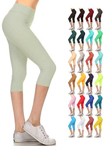 fd71744c059 Leggings Depot Women s Yoga Gym High Waist Reg Plus Solid and Printed  Workout Capri Leggings