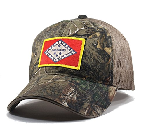 Homeland Tees Men's Arkansas Flag Patch Camo Trucker Hat - Realtree (Day Springs Eureka Christmas)