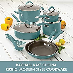 Rachael Ray Cucina Nonstick Cookware Pots and Pans Set, 12 Piece, Agave Blue