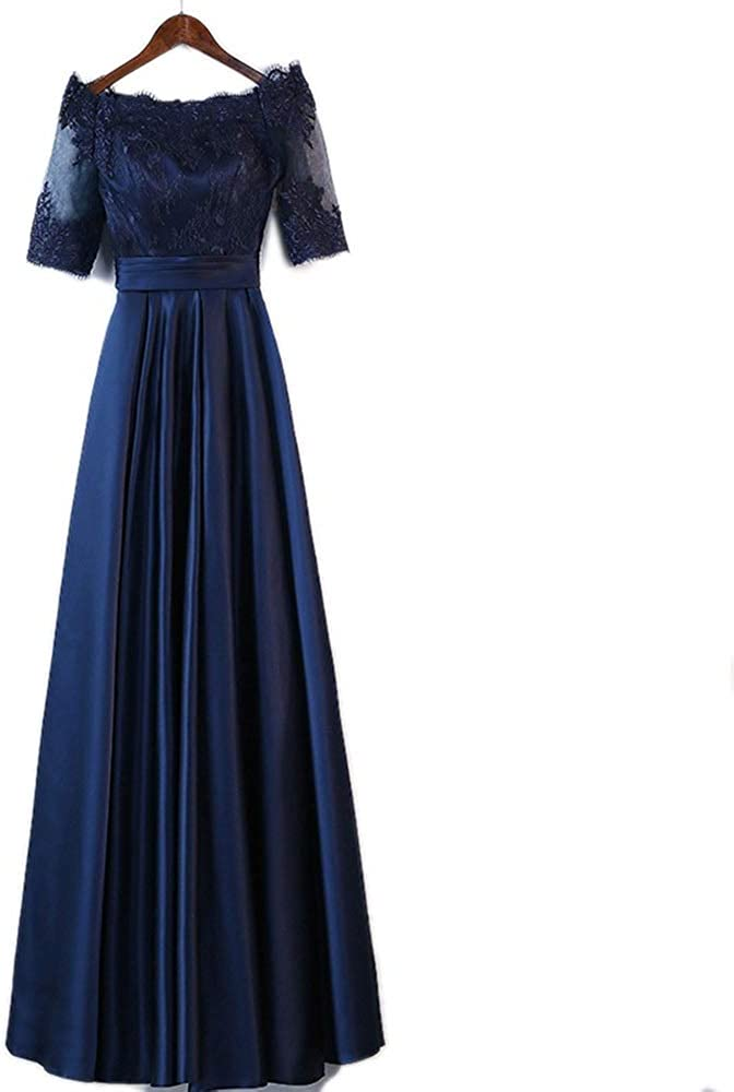 Pro-BikeUS Womens Floral Lace One Shoulder Short Sleeves High Waist Long Maix Dress