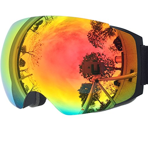 51NtS00vBkL - ZIONOR X4 Ski Snowboard Snow Goggles Magnet Dual Layers Lens Spherical Design Anti-fog UV Protection Anti-slip Strap for Men Women