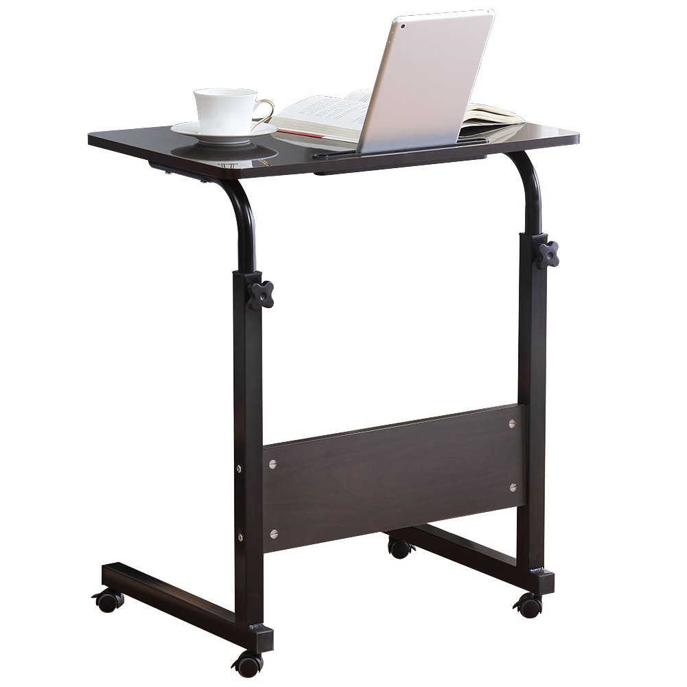 Chinashow Height Adjustable Wooden Laptop Table Computer Standing Desk with Tablet iPad Slot Mobile Workstation with Wheels (black)