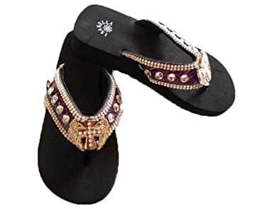 92c7048b9a9794 Image Unavailable. Image not available for. Color  Purple Flip Flops Cross  and Wings Rhinestones Western ...