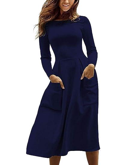 Tomwell Automne et Hiver Femme Robe de Cocktail Col Rond