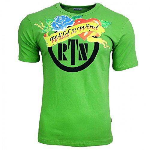 Avroni Print Druck T-Shirt Herren Knopf Kurzarm Rundhals Grau Grün Weiß A12741, Größe:L, Farbe:Weiß