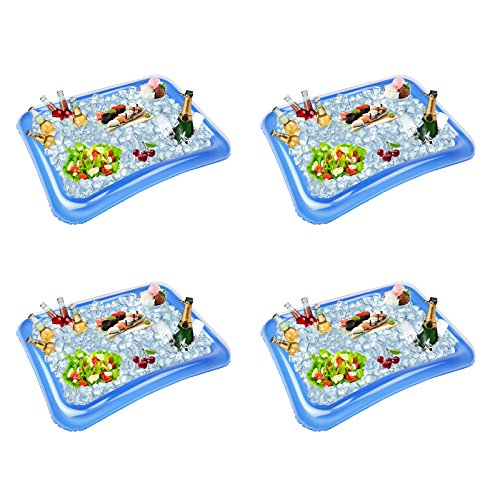 4-Pack Inflatable Ice Serving Bar Coolers for Parties, Salad BBQ Picnic Ice Food Drinks Buffet Server Tray for Indoor Outdoor Party (Best Finger Foods To Serve At A Party)