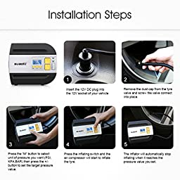 Suaoki Portable Air Compressor with Backlit Digital Gauge- 12V DC Electric Portable Tire Inflator with Cigarette Plug Pump to 100PSI for Cars, Bicycles, Balls, Black