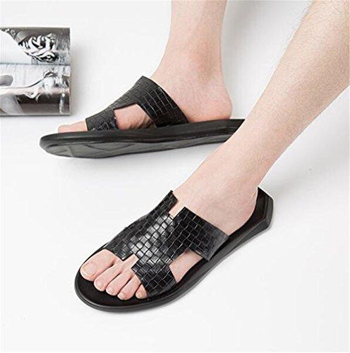 da Sandali 38 a Moda Taglia pantofola Spiaggia Tessere Pelle uomo 45 dzqwrz