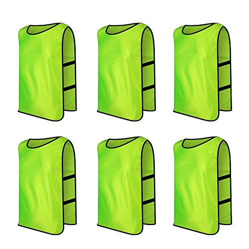 Polyester Training Bibs (TopTie Scrimmage Training Vests Soccer Bibs Set of 6, Child & Adult & X-Large-Green-Adult)