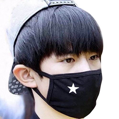 - Unisex Anti-dust Solid Black White Star Cotton Earloop Face Mouth Mask Muffle