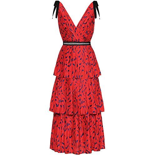 5cc5a0ebbef9 Amazon.com: Self Portrait Tiered Printed midi Dress red UK8/US4: Clothing