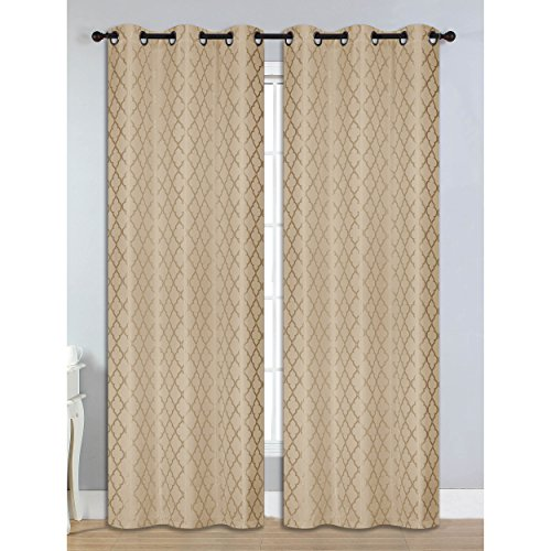 Bella Luna Quattro Jacquard Room Darkening 76 x 84 in. Grommet Curtain Panel Pair, Taupe