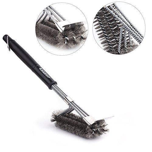 "Grill Brush and Scraper,BBQ Cleaning Brush for Grill,3 in 1 Stainless Steel Woven Wire Bristles 18"" Long Handle Cleaner Accessories for Weber Gas/Charcoal Grilling/Cooking Grates/Racks & Burner"