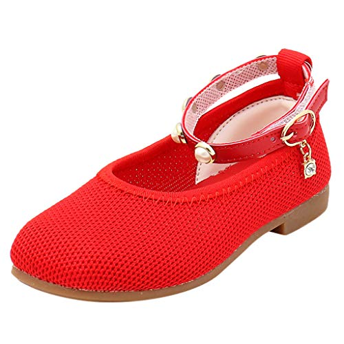 Respctful✿Girls Leather Ankle Strap Flats Dress Shoes Ankle Strap Glitter Ballet Flats Size 9- Size 5 Youth Red