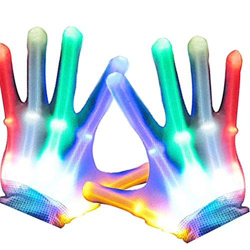 IHUIXINHE Led Skeleton Hand Gloves 5 Color 6 Light Flashing Modes Lightshow Dancing Gloves for Clubbing, Rave, EDM, Disco, Halloween and Christmas Party - 2 Silicone Wristbands Incl -