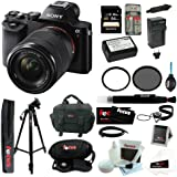 Sony 24.3 MP a7K ILCE-7K/B ILCE7KB Full-Frame Interchangeable Digital Lens Camera with 28-70mm Lens + Sony Class 10 64GB SDXC Memory Card + Replacement NP-FW50 Battery with Charger + Tiffen 55mm UV Protector Filter & Circular Polarizer + Accessory Kit