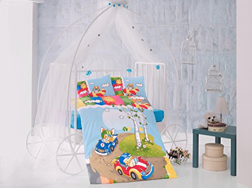 Race Time Blue cars Baby Cot Bed Duvet Cover Set, 100% Cotton Soft and Healthy 4-Pieces Bedding Set by TI Home
